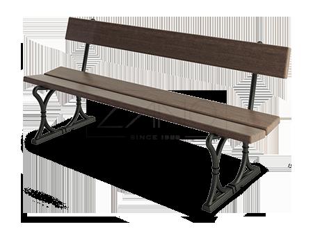 lawka-warszawska-ze-stali-czarnej ozdobiona drewnem krajowym