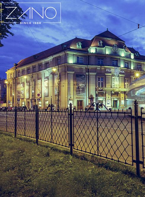 ogrodzenie ze stali czarnej krakowskie planty z widokiem na filharmonie