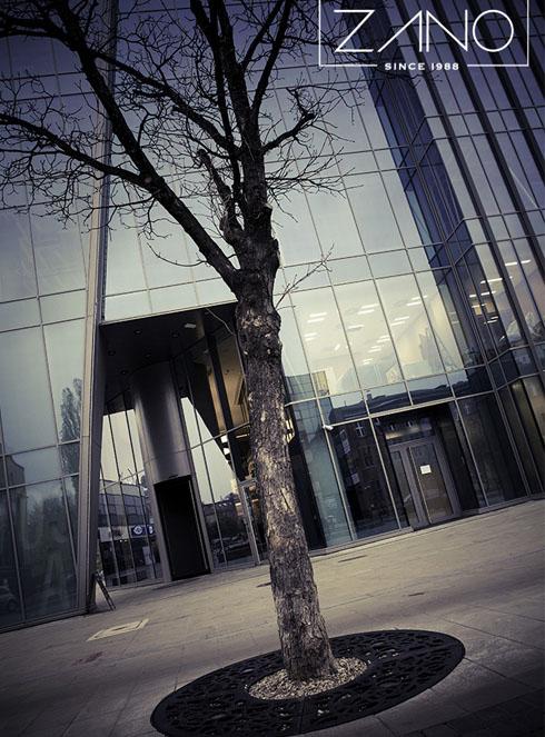 oslona na drzewo ze stali czarnej