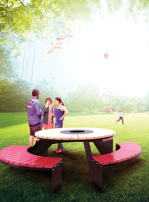 stol piknikowy domino ze stali nierdzewnej